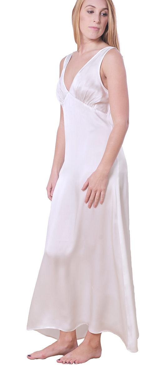MARYCRAFTS SILK NIGHT GOWN SLEEP SLIP DRESS LONG FULL ... - photo#47